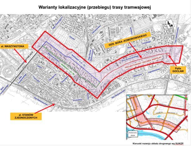 Warianty lokalizacyjne trasy tramwajowej UM Warszawa
