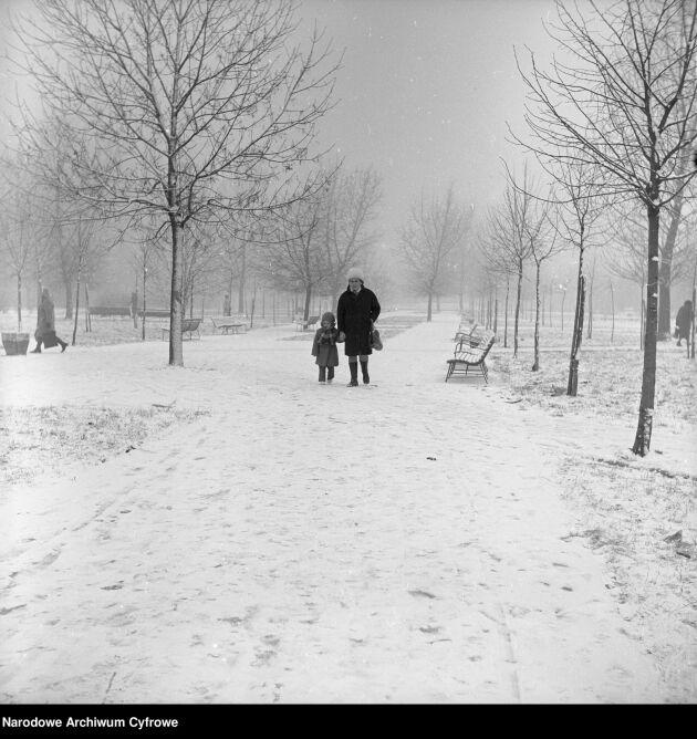 Skwer przy Hali Mirowskiej. 14 grudnia 1974 (Rutowska Grażyna/Narodowe Archiwum Cyfrowe)