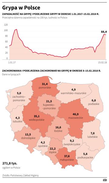 Grypa w Polsce, dane do 15 lutego (PAP/Maciej Zieliński)