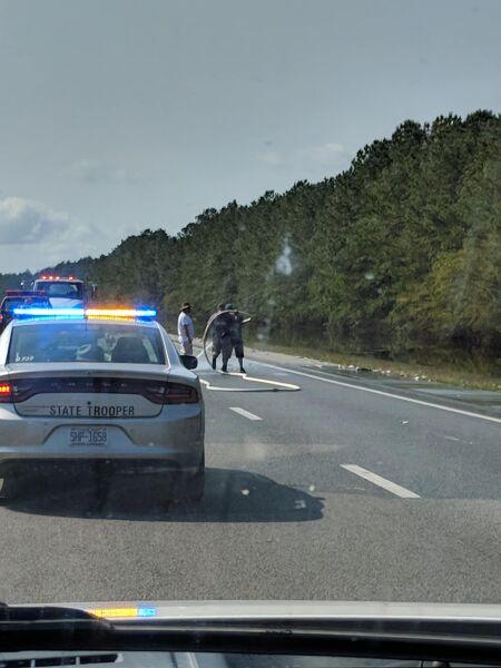 Martwe ryby na autostradzie (Facebook/Penderlea Fire Department)