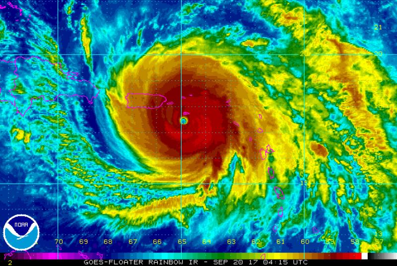 Prędkość wiatru w huraganie Maria (NHC/NOAA)