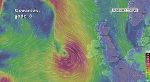 Prognozowane porywy wiatru podczas burzy tropikalnej Lorenzo